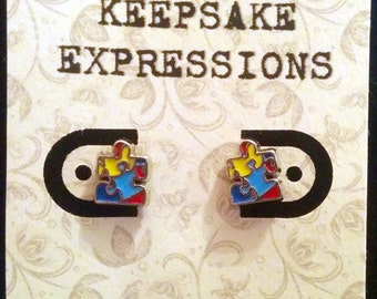 Autism Awareness Puzzle piece stud type earrings