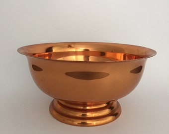 Coppercraft Guild Copper Plated Footed Bowl; Copper Bowl; Vintage Metal Bowl; Succulent Planter