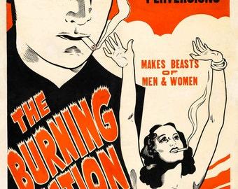marijuana cult film poster Marijuana: The Burning Question (2) — repro print