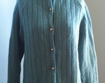 Handmade Turquoise Blue Long Sleeves Sweater Cardigan