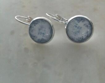 Delicate earrings Toile de Jouy 12mm
