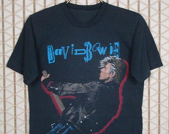 David Bowie t-shirt, original Glass Spider concert tour tee shirt, black soft thin, authentic vintage, Glam, New Wave, OG, double sided