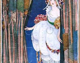 FLAPPER BRIDE In Extravagant Art DECO Wedding Dress. Fab Vogue Cover Illustration Deco Weddings. Digital Flapper Download.