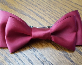 Maroon Hair Bow Barrette