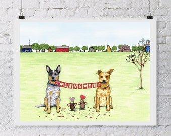 australian cattle dog blue heeler red heeler dog art prints inkjet ...