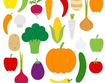 Vegetables Clipart / Veggies / Broccoli / Carrot / Onion / Potato / Pepper / Pumpkin
