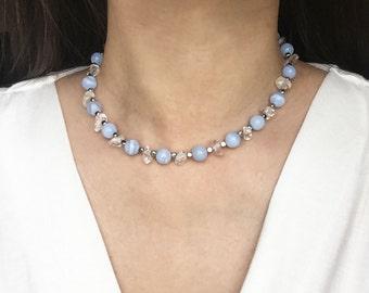 Gemstone Choker, Blue Lace Agate Choker, Crystal Choker, Semi Precious Choker