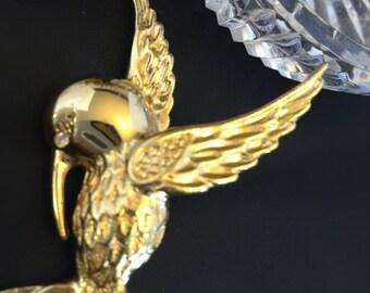 Hummingbird Brooch,Gift For Her,Bird Pin,Gold Brooch,Vintage Pins,Gift for Mom,Aviary Pins,Hummingbirds
