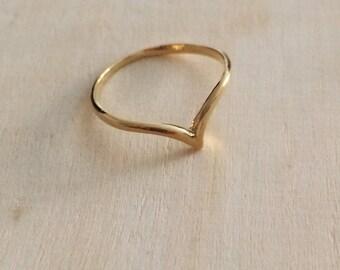 Chevron gold filled ring, V ring, minimal ring, bird ring, stacking ring, thin ring, simple ring, delicate ring, gold filled ring