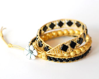 Yellow Wrap Bracelet, Yellow and Black, Leather Wrap Bracelet, Triple Wrap, Black and Gold