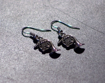 Silver Plated French Horn Earrings