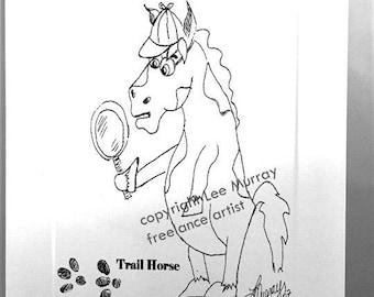 """Greeting Card - Equestrian Series - """"Trail Horse"""""""