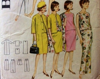 1960s Mod style separates Butterick 2704 vintage sewing pattern Bust 32 Waist 25 Hip 34 Retro 60s style Mad Men preppy era Easy to make