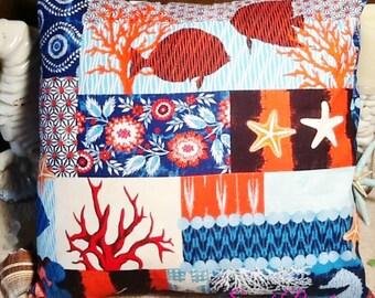 Sea Life Print Beach Pillow Covers Ocean Seaside Cabana Resort Patio Decor
