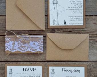 Custom Wedding Invitation Kits, Rustic Wedding Invitation Kits, Lace Wedding Invitation, Vintage Wedding Invitation, Set of 20