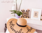 Light Coffee color - Custom, Personalized, Summer floppy hat