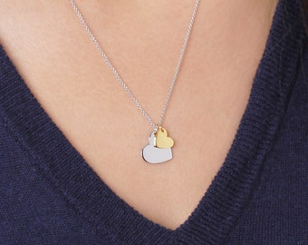 Double heart necklace / sterling silver & gold vermeil charms - sterling silver chain necklace  - simple everyday jewelry - valentine