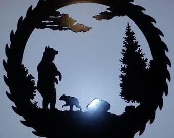 Nature Scene Sawblade with Bear and Cub