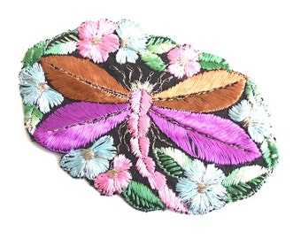 Applique, 1930s vintage embroidered dragonfly applique. Vintage patch, sewing supply. Applique, Crazy quilt #641G86K16