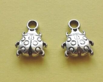 10 Ladybug Charms Silver - CS2145