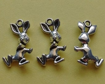 10 pc Bunny Rabbit Charm Silver - CS2262