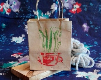 Mini paper gift bag - Aloe Vera in tea cup / gift wrapping / linocut