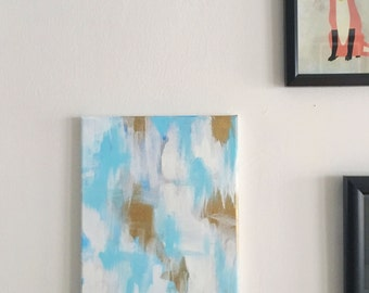 Pool Party - Blue, White & Gold Abstract Painting