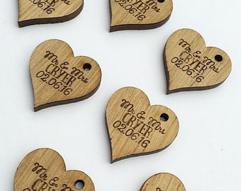 Custom Wedding Favors - Heart Favors - Heart Decor - Heart Decorations - Wooden Hearts - Rustic Wedding Favors - Wedding Table 14TD