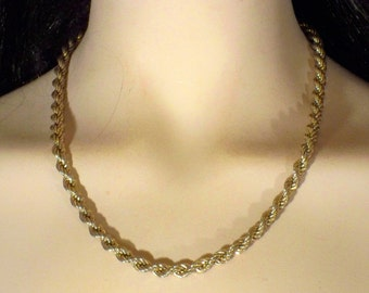 Vintage Monet Twisted Goldtone Necklace S1224 designer signed RETRO!
