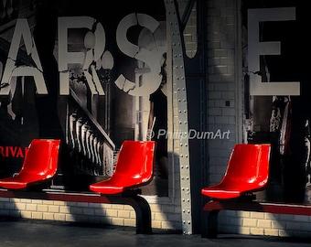 Red seats, Paris, France, parisian aerial metro, metal-framed, Andreu-Motte style, metro tiles, metro platform, color photography