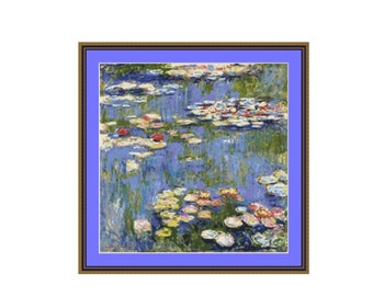 Waterlilies Cross Stitch Pattern,  Claude Monet, Instant Download Counted Cross Stitch Chart (P-089)