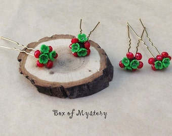 Flower hair pins - hair accessories - spring flowers - polymer clay flowers - floral- green- red- set of 4