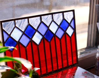 Stained Glass Window Panel - Red and Blue