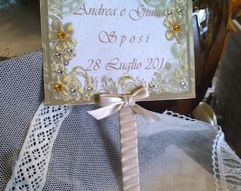 Custom Wedding hand fan with glitter and rhinestones