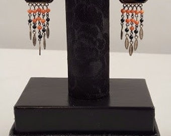 Art Deco/Vintage Onyx, Chinese Carved Coral, and Sterling Silver Earings
