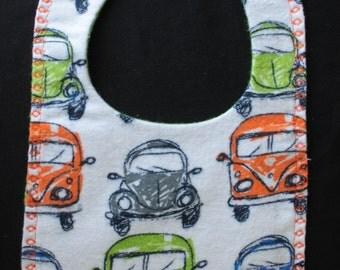 Flannel Bib VW Bib Reversible Bib mealtime essentials baby layette drool bib snap fastener