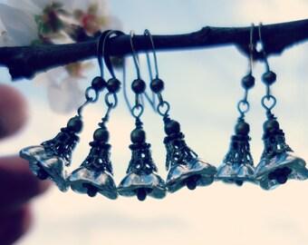 Metallic Earrings - Flower Earrings - Metallic Jewelry - Metallic Silver - Small Floral Earrings - Dainty Earrings - Iridescent Earrings.