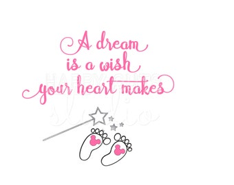 A Dream is a Wish Your Heart Makes Pregnancy Announcement Surprise Disney Mom to be Maternity Baby Disney Iron On Decal Vinyl for Shirt 096