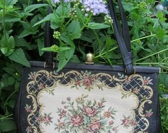 Vintage Walborg West German Tapestry Purse Bag Top Handle Handbag Europe Flowers Green Mauve Ivory Gold *free shipping*
