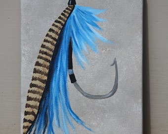 Fishing Fly: Original Acrylic Painting on Stretched Canvas, 5x7 inches