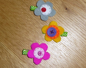 Set of 3 Felt Flower Hair Clips