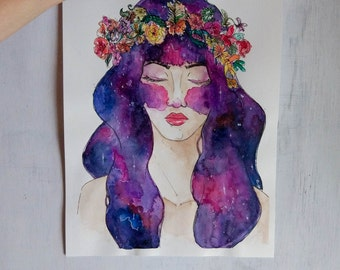 Original watercolor, Galaxy and crown - Watercolor and ink on paper, galaxy portrait fantasy and exclusive gift, artistic watercolor gift