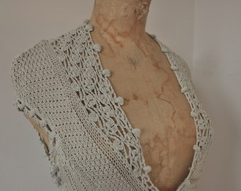 Vintage crochet top shirt / romantic / bohemian / belgian design