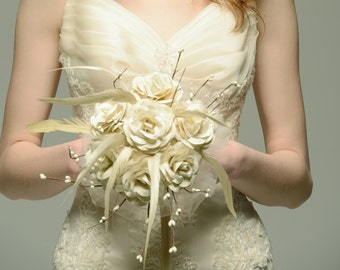Vintage Handwritten Paper Bridal Bouquet with Ivory Cream Feathers