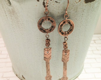 Arrow earrings, copper stamped earrings, arrow stamped earrings