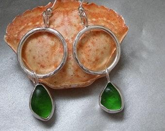 Cornish Green Sea glass earrings, Sea Glass earrings, Sea glass jewelry, Sea glass jewellery, Silver Drop earrings, Silver hoop earrings.