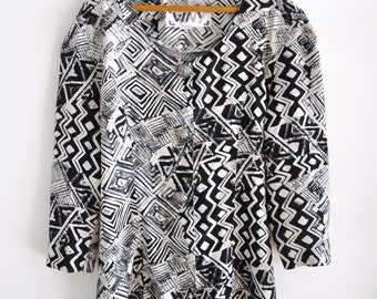 Vintage 80s Black and White Abstract Print Blouse