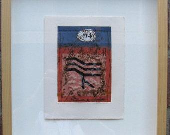 JAMES COIGNARD, Original Carborundum Etching, Carte de Voeux Rouge Bleu 94, Signed Numbered Framed, FREE Shipping
