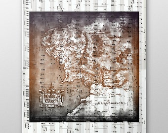Lord of the Rings Map of Middle Earth, LOTR Art Print, Nursery Wall Decoration, Lord of The Rings Poster, Middle Earth LOTR Print