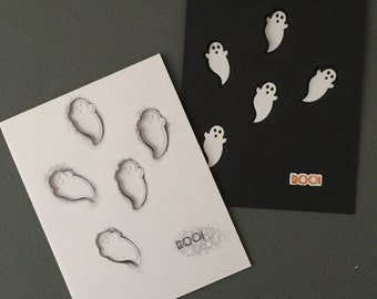 And made Greeting Cards-Halloween Ghosts Boo (set of 2) Cards, Notecards